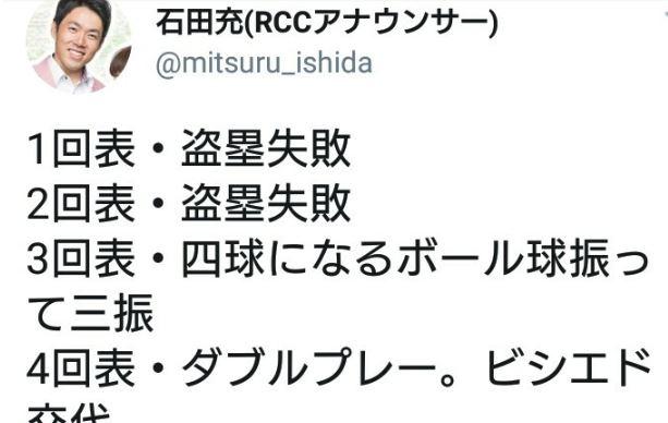 【炎上】石田充RCCアナウンサーが阪神vs.中日で八百長を疑うようなツイート→削除&謝罪もTwitter大荒れに